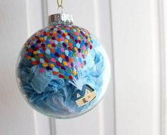 Disney-Pixar's Up Balloon House Glass Christmas Ornament from ClarityArtwork on Etsy. Saved to Christmas. Noel Christmas, Glass Christmas Ornaments, Christmas Projects, Holiday Crafts, Christmas Bulbs, House Ornaments, Diy Ornaments, Etsy Christmas, Disney Diy
