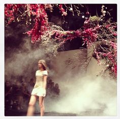 The setting last night at #aje was incredible as the models walked underneath a stunning creation by #grandiflora #mbfwa #runway #sbyb #instagram #sydney #fashion #style #flowers