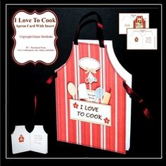 I Love To Cook   Shaped Cut   Fold Apron Card   Insert   Verse on Craftsuprint - View Now!