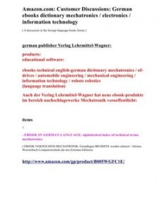 Amazon.com: Customer Discussions: Germanebooks dictionary mechatronics / electronics /information technology
