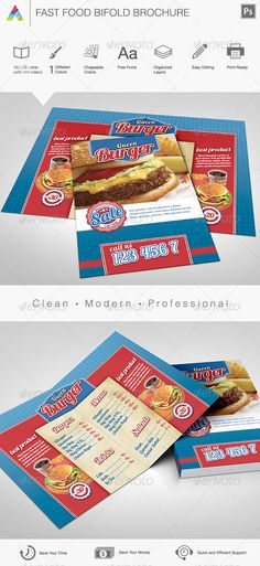 Fast #Food Brochure & #Menu - Restaurant Flyers Download here: https://graphicriver.net/item/fast-food-brochure-menu/4217944?ref=carlyalexa