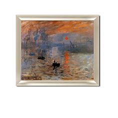 Framed Hand-painted Sunrise Oil Painting by Claude Monet with Stretched Frame,Card Wallet flower diamond shoulder bag case For SamSung i9300 N7100 Iphone 5