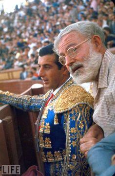 Spanish Matador Antonio Ordonez with Friend, Author Ernest Hemingway in Arena Before Bullfight
