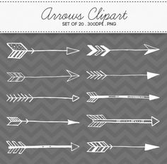 Doodle Tribal Aztec Arrow Clipart / INSTANT DOWNLOAD / Digital Arrows Set of 20 / 160 on Etsy, $4.87