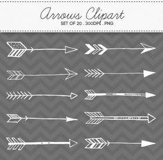 Doodle Tribal Aztec Arrow Clipart / INSTANT DOWNLOAD / Digital Arrows Set of 20 / 160 on Etsy, $4.87