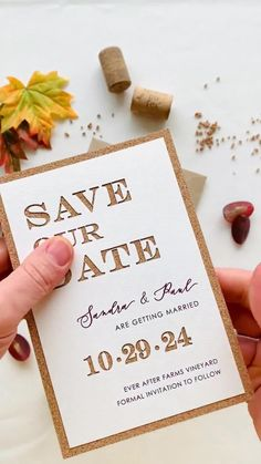 Build the anticipation further by sending your Save the Date to your guests and giving them a sneak peek of your wedding theme.This Save the Date is inspired by winery weddings, offering a vintage feel and rustic beauty, perfect for a couple who favors casual, yet class and elegance. #corkweddingsavethedates #rusticweddingsavethedates #countryweddingsavethedates