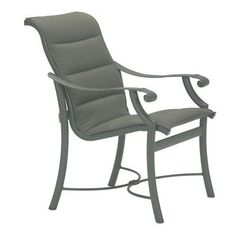 Tropitone Montreux Padded Sling Dining Arm Chair Fabric: Taylor, Finish: Obsidian