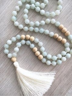 Truth  Amazonite Mala  108 Bead Hand Knotted Tassel