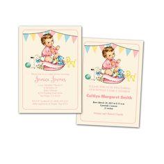 Digital DIY Vintage Baby Girl Shower Invitation by KBandFriends