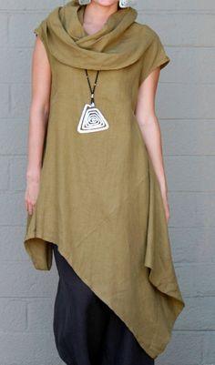 89025d1c98e9fe BRYN WALKER Light Linen NOA TUNIC Long Angle Hem Dress S M L XL QUINOA