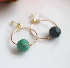 Turquoise Gold Hoop,Turquoise Clip On,Non Pierced Earrings,Turquoise Hoop Clip,Invisible Turquoise,No Pierced Turquoise,Turquoise Earrings