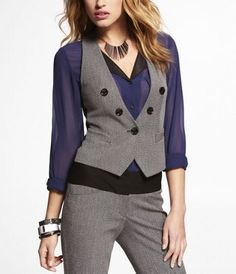 STUDIO STRETCH FAUX DOUBLE BREASTED VEST at Express .. Need this for work!