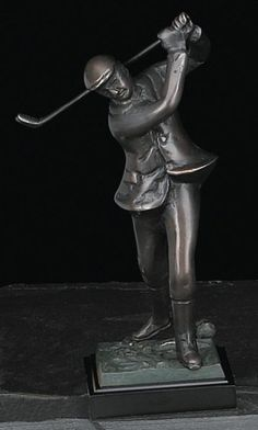 Small Golfer Bronzed Metal Sculpture on Marble Base T.P.