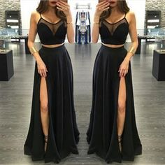 Charming Prom Dress,Two Piece Prom Dress,Black Prom Dress,Chiffon Prom Dresses,Sexy Prom Dress,Side Slit Prom Dresses by DRESS, $146.00 USD