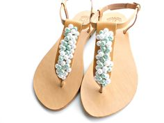 Wedding leather sandals, Pearl sandals, Wedding flats, Bridal sandals, Bridesmaids Summer leather sandals- White teal pearls women flats by dadahandmade on Etsy https://www.etsy.com/listing/225533849/wedding-leather-sandals-pearl-sandals