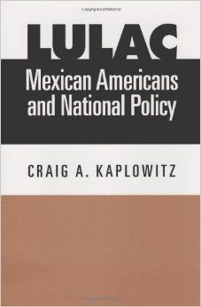 "LULAC, Mexican Americans, and National Policy, by Craig Allan Kaplowitz. [322.4 Kap c1] ""Being a proud member of LULAC at the University of Texas A&M Kingsville, I highly recommend this book to anyone who is interested in learning about the history of LULAC (League of United Latin American Citizens). You'll gain insight into the struggles and victories in decades past and present by Mexican American activists.""  ~Naomi"
