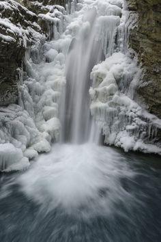 Icy Fall,  Jonathan Canyon Upper Fall, Banff, Canada, by Jason Zhu.