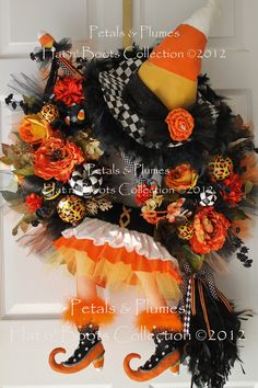 """Halloween Wreath """"CAnDy CoRn WiTcH DIVA"""" Wreath-XXLG -Fall Wreath- LIMITED Orders this year-(Please Read Full Description). $459.00, via Etsy."""
