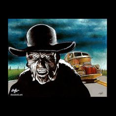 Print - The Creeper - Jeepers Creepers Horror Dark Art Monster Creature Mystery Truck Spooky Halloween Movies Pop Lowbrow Art Scary Halloween Movies, Halloween Horror, Horror Artwork, Jeepers Creepers, Vintage Horror, Lowbrow Art, Horror Films, Dark Art, Vintage Posters