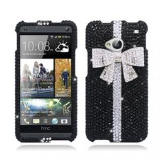Get High Quality #HTC #One #M7 3D White Bow Tie/ Black With Full Rhinestones Faceplate Snap-On #Hard #Cover #Case at a huge discount price! Your device would be so amazing. Just $17.99.