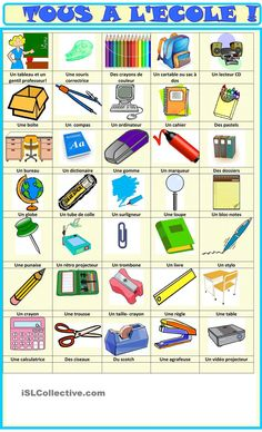 Tous à lécole: fournitures imagier French Language Basics, French Language Lessons, French Language Learning, French Lessons, French Flashcards, French Worksheets, French Teaching Resources, Teaching French, French Phrases