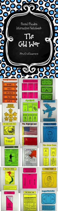 The Cold War Interactive Notebook contains pages from the beginning of the Cold War until the Collapse of the Soviet Union, including the Berlin Airlift, Berlin Wall, Korean War, Cuban Missile Crisis, Vietnam War, Arms Race, Space Race, and much more!