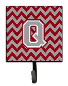 Letter Q Chevron Crimson and Grey Leash or Key Holder CJ1043-QSH4