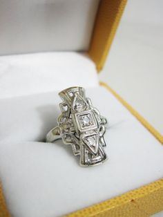 Vintage 14k White Gold and Diamond Art Deco Dinner by FairSails, $600.00