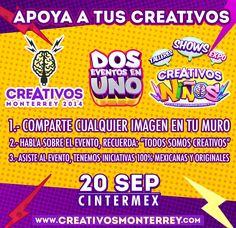 Apoya a tu #CREATIVO este 20-Sep.  NO FALTES!!!!! www.creativosmonterrey.com