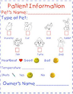 vet chart for dramatic play area during community helper unit- we could have the kids work in pairs (one the customer and one the vet, and the vet has to fill out the chart and treat the pet) Dramatic Play Themes, Dramatic Play Area, Dramatic Play Centers, Community Helpers Preschool, Role Play Areas, Vet Clinics, Kindergarten Centers, Play Based Learning, Play Centre