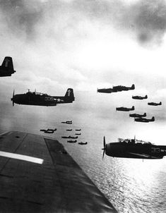 US Navy planes(possibly TBF(M) Avenger) preparing to bomb Japan. (Photo by W. Navy Aircraft, Ww2 Aircraft, Aircraft Carrier, Military Aircraft, Grumman Aircraft, Fighter Aircraft, Eugene Smith, Between Two Worlds, Ww2 Planes