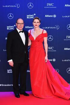 14 February 2017 - Charlene and Albert attend Laureus Awards - dress by Carolina Herrera