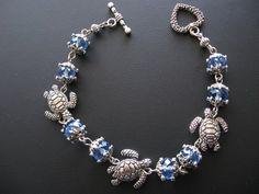 Turtle Jewelry, Turtle Bracelet, Blue Jewelry, Blue Bracelet via Etsy Beach Jewelry, Gold Jewelry, Jewelry Bracelets, Jewelery, Unique Jewelry, Jewelry Box, Diy Jewelry, Necklaces, Sea Turtle Jewelry
