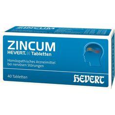 ZINCUM HEVERT N Tabletten:   Packungsinhalt: 40 St Tabletten PZN: 03816110 Hersteller: Hevert Arzneimittel GmbH & Co. KG Preis: 4,61 EUR…