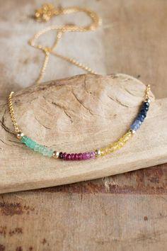 Rainbow Gemstone Necklace, Sapphire, Ruby, Emerald Multi Gemstone Necklace Gift for Wife Gemstone Necklace, Gold Necklace, Emerald Gemstone, Gifts For Wife, Gifts For Her, Gems Jewelry, Jewelry Ideas, Blue Sapphire, Natural Gemstones