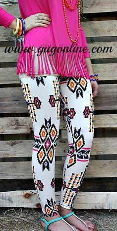 Aztec Horizon Leggings in Hot Pink, Royal and Orange  www.gugonline.com