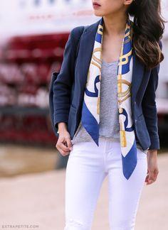 ExtraPetite.com - Nautical navy cork (plus two ways to fold a silky scarf 513181fd0a3db