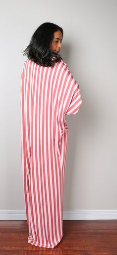 Striped Dress   Loose Fit 3/4 Sleeve Dark Coral and Pink