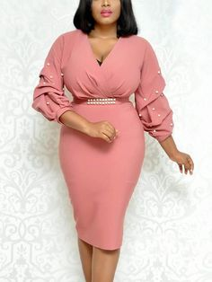 V-Neck Three-Quarter Sleeve Bead Lantern Sleeve Womens Sheath Dress Dresses, Costumes, Jewelry & More. Save on the Hottest Fashion Today! New Styles Added Daily. Dressy Dresses, Dress Outfits, Fashion Outfits, Dress Fashion, Fashion Ring, Midi Dresses, Dress Clothes, Club Dresses, Cheap Fashion