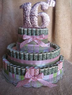 "Check out MONEY CAKE, ""16th Birthday"" - Unique Gift Made with Real Money. A Fun New Way to Send a Greetting To That Sepcial Somone! on creativecreationsmc"