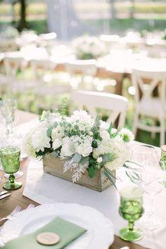 Rustic white & green wedding centerpiece in wood box / http://www.himisspuff.com/wooden-box-wedding-decor-centerpieces/10/