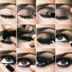 Step by step eye liner smoky eye.