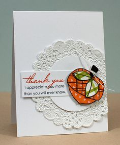 I'm still loving the use of doilies on cards.