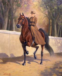 LOL - found MY painting on Pinterest!!  That is my lovely Equusport - American Saddlebred horse and me riding!!