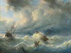 Raden Saleh Ben Jaggia: Ships on a Stormy Sea. Tempera, Pirate Ship Painting, Stürmische See, Romanticism Paintings, Rennaissance Art, Art Eras, Indonesian Art, Vintage Landscape, Scenery Wallpaper
