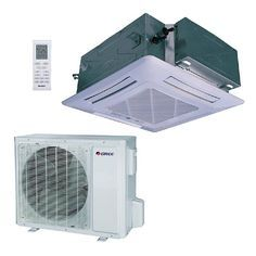 GREE BTU 4 Ton Ductless Ceiling Cassette Mini Split Air Conditioner with Heat, Inverter, Remote - at The Home Depot - Mobile