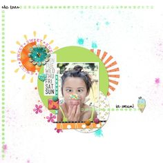 she loves ice cream everyday - Two Peas in a Bucket  layered circles and splatters