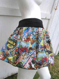 Marvel Comic Books Captain America Thor Iron Man Hulk retro geek Skirt shirt (From Poppy's Wicked Garden)