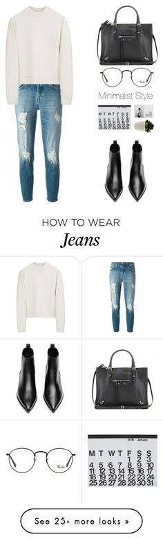 """#496"" by missad3 on Polyvore featuring 7 For All Mankind, Acne Studios, Ray-Ban, Balenciaga, Crate and Barrel, minimal, Minimaliststyle and polyvorecontest"