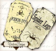 Halloween Bottle Jar Labels Tags
